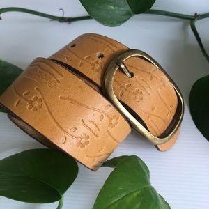 Billabong Leather Tooled Belt Boho size medium
